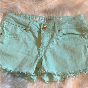 Express mint green shorts